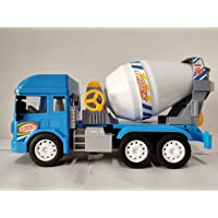 Amisha Gift Gallery Friction Powered Cement Mixer Construction Unbreakable Plastic Truck with Light & Sound Engineering Car Toys Large Concrete Mixer Model for Kids Toy Gift.
