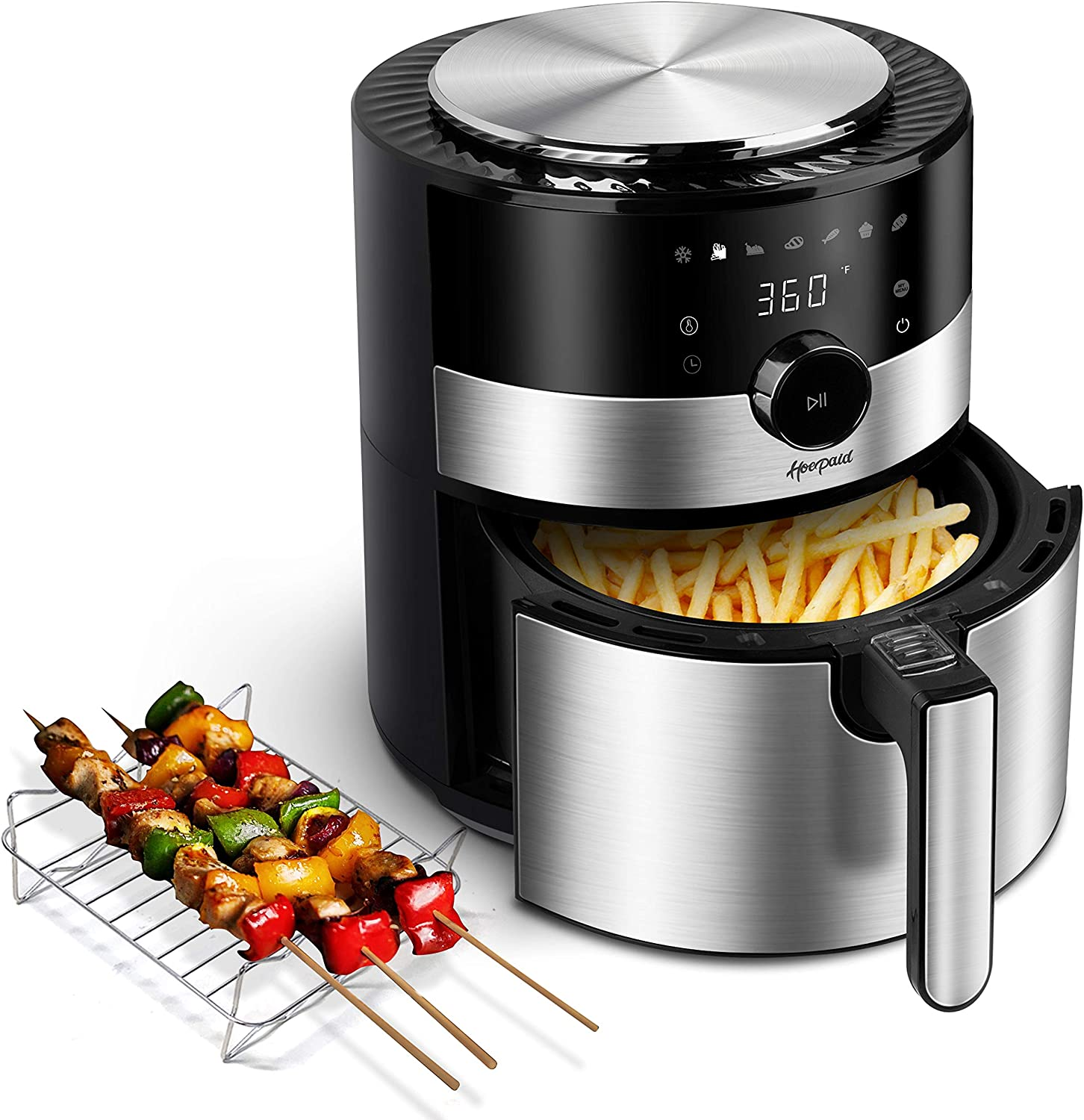 Hoepaid Air Fryer, No Oil Stainless Steel Oven with 7 Preset Modes and Adjustable Temperature Time, Touch Screen and Knob, Non-Stick Basket and Rack Included, 1350W, Black (3.6QT)