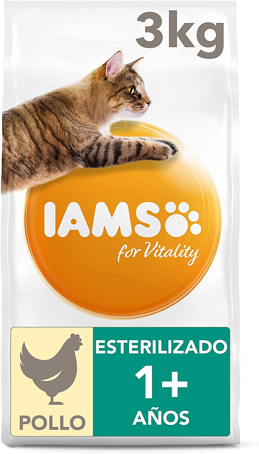 IAMS for Vitality Light in Fat/Esterilizado Alimento para gatos con pollo fresco, 3 kg