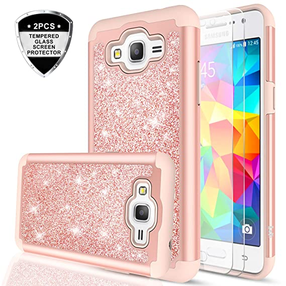 the latest 7770b 59239 Galaxy Grand Prime Case, J2 Prime Case with Tempered Glass Screen Protector  [2 Pack],LeYi Glitter Girls Women Dual Layer Heavy Duty Protective Phone ...