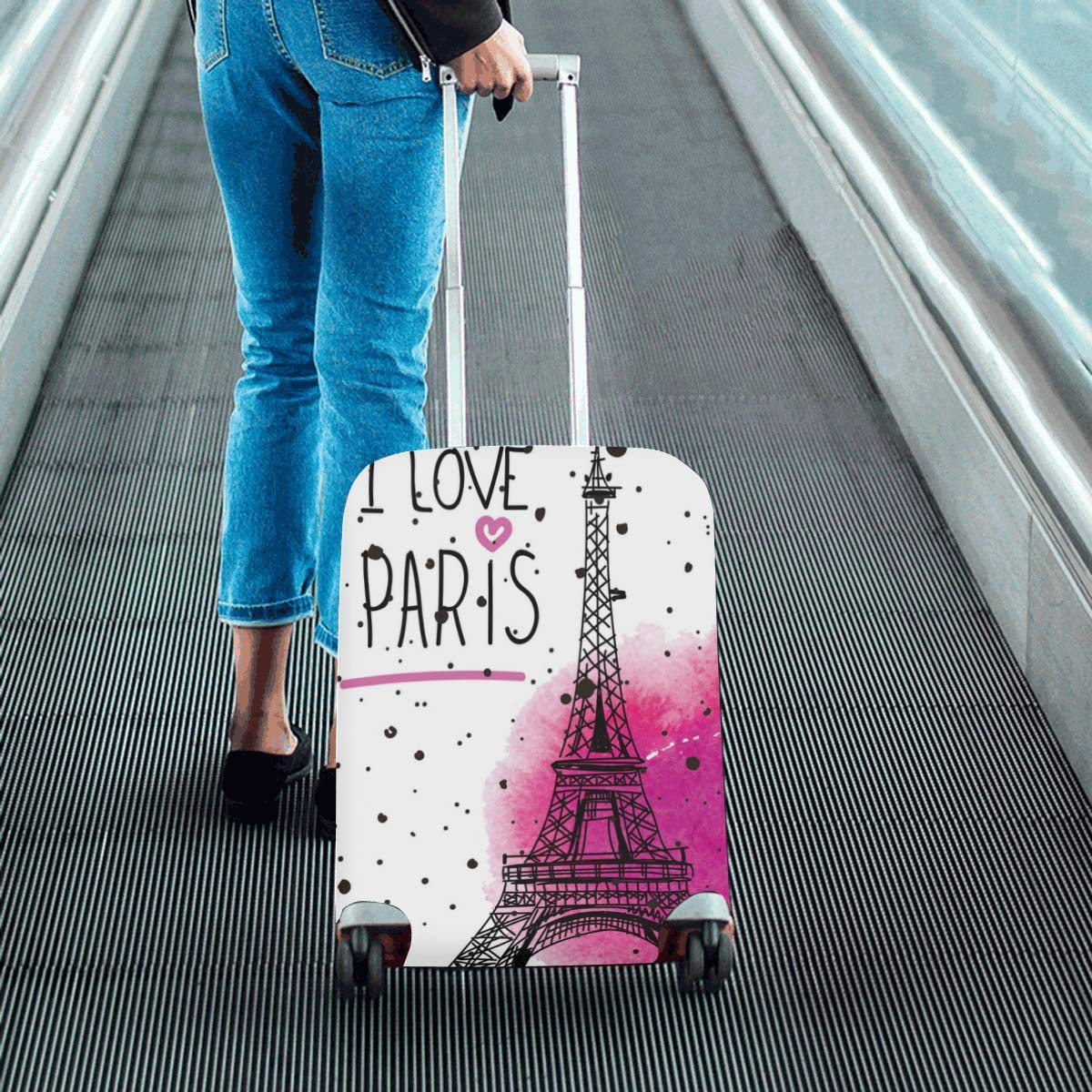 InterestPrint I Love Paris Eiffel Tower Travel Luggage Case Baggage Suitcase Cover Fits 18''-21'' Luggage by InterestPrint (Image #5)