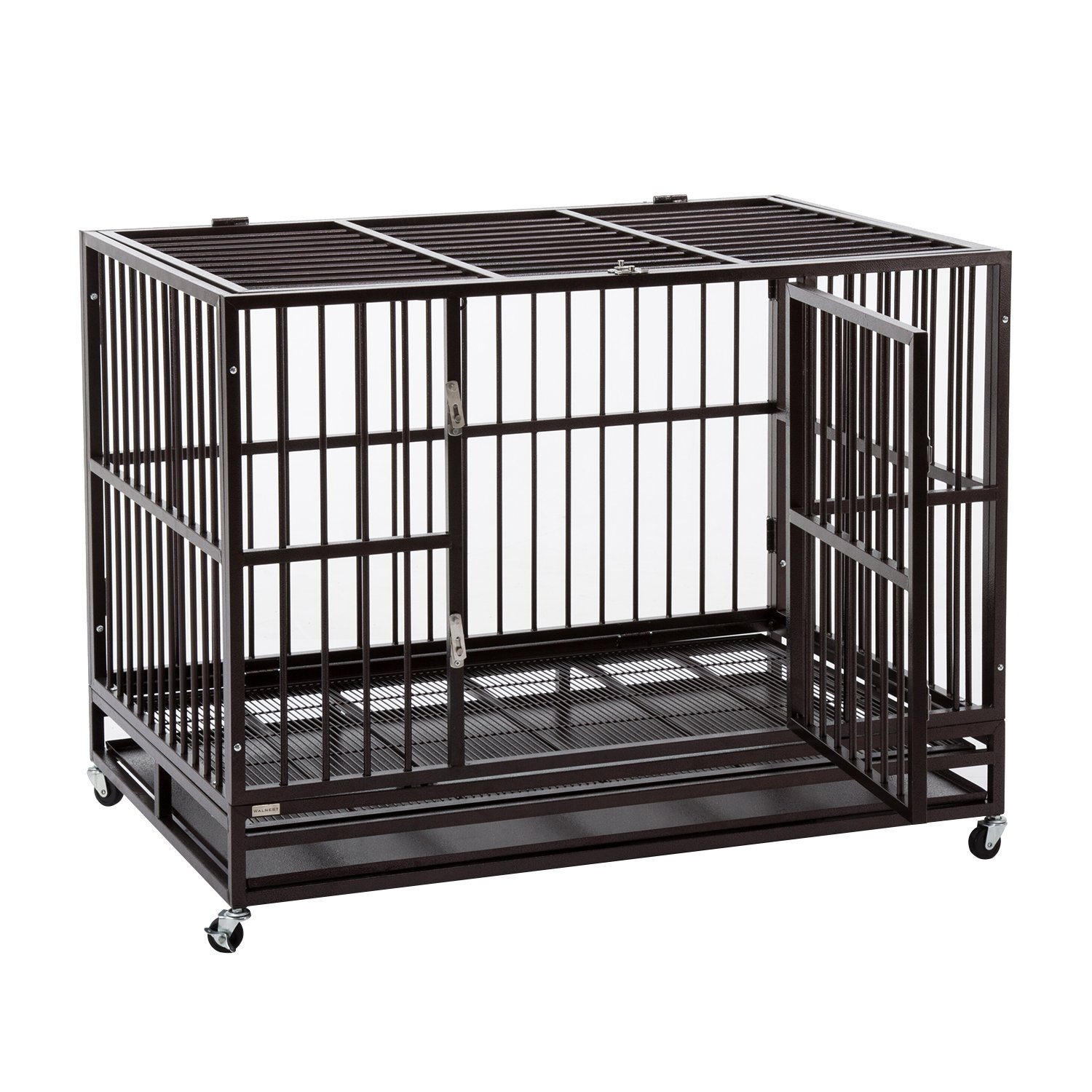 Sliverylake 3XL 48 Dog Cage, Dog Crates for Large Dogs Dog Kennel – Heavy Duty Double Door Pet Cage w Metal Tray Wheels Exercise Playpen 48 , Golden