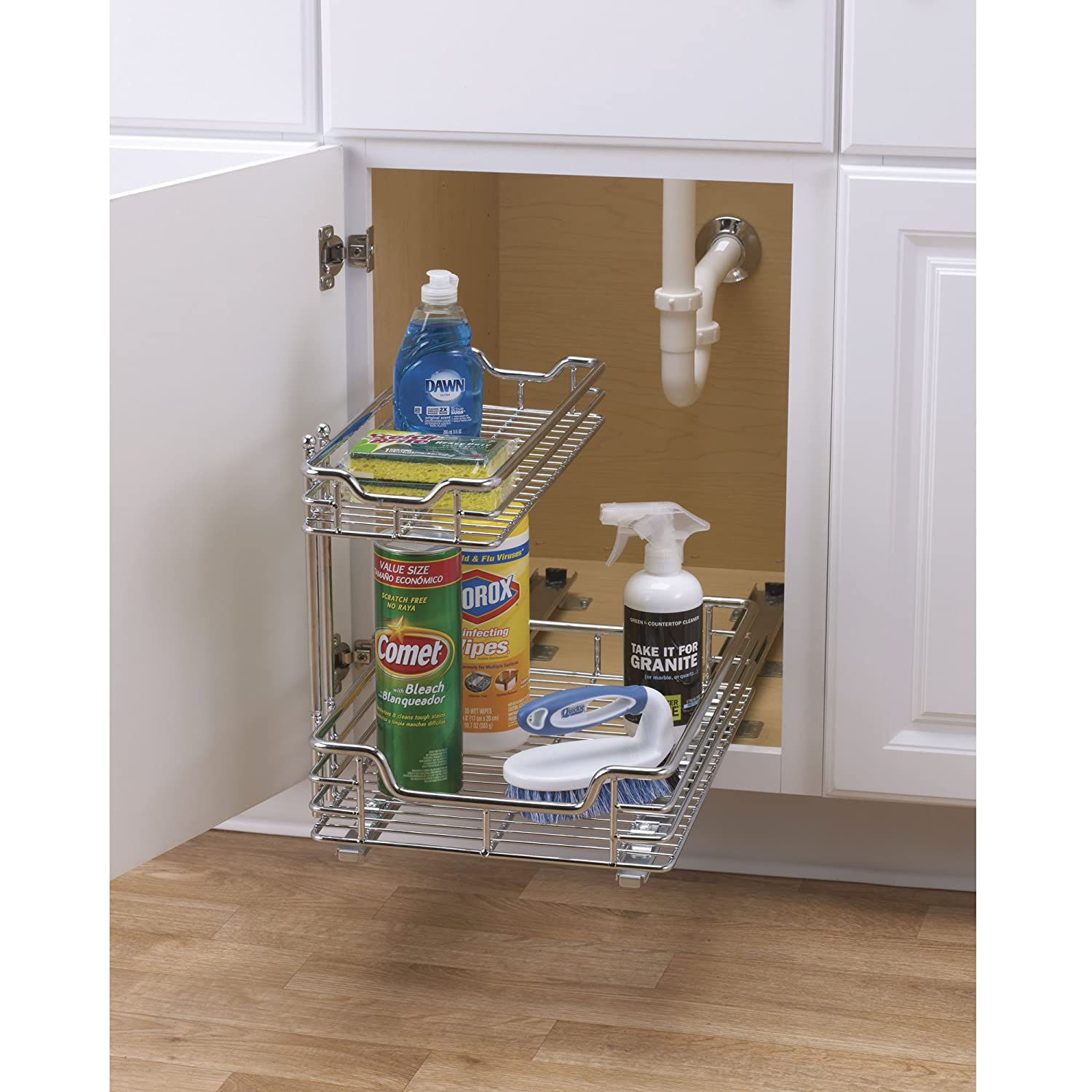 ordinary Kitchen Sink Organizers Accessories #9: Amazon.com: Household Essentials C26512-1 Glidez Undersink Sliding Organizer  - Pull Out Cabinet Shelf - Chrome - 12.5 Inches Wide: Home u0026 Kitchen