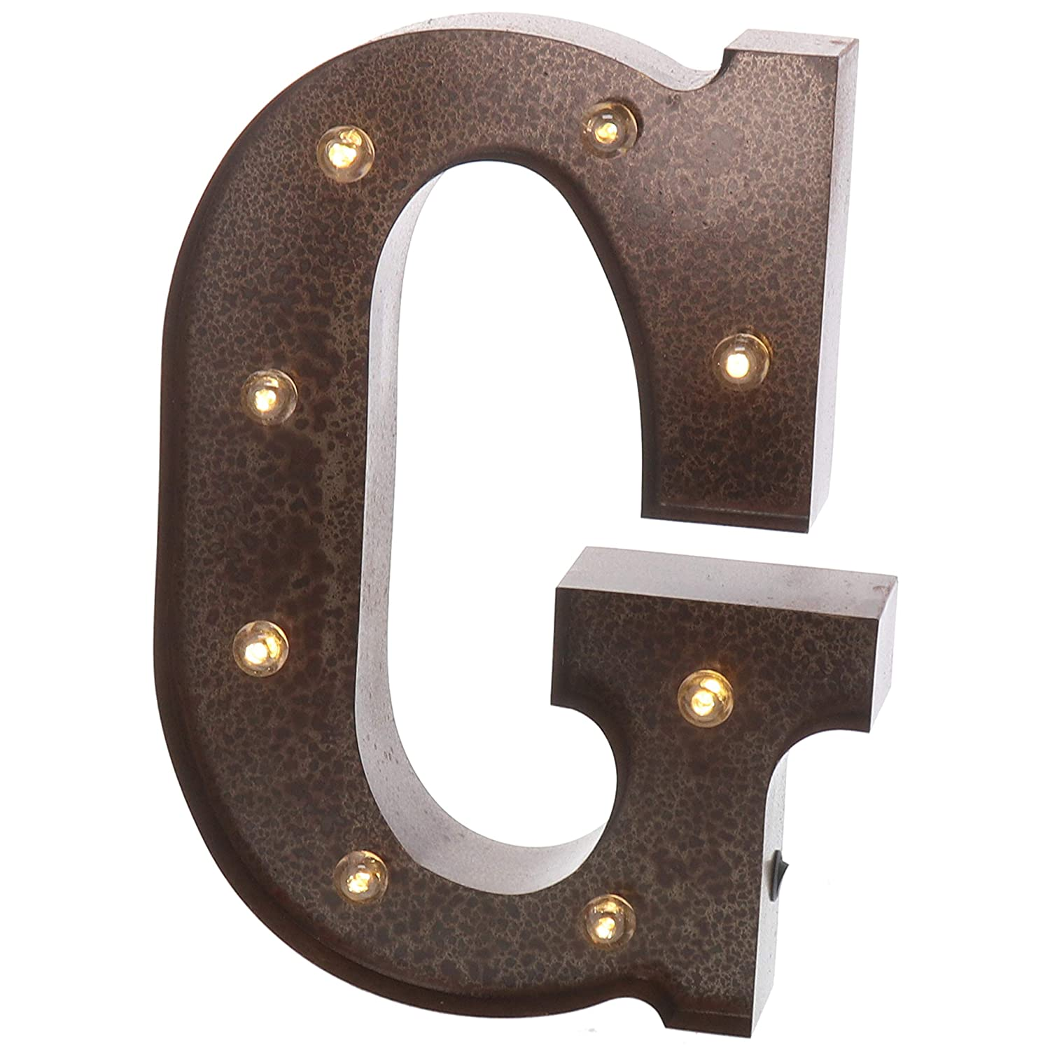 "Barnyard Designs Metal Marquee Letter G Light Up Wall Initial Wedding, Home and Bar Decoration 12"" (Rust)"