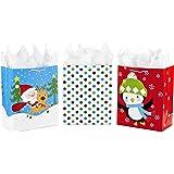 Hallmark 大号圣诞礼物袋分类带纸巾纸 Santa and Penguin Pack of 3 大 5XGB2816