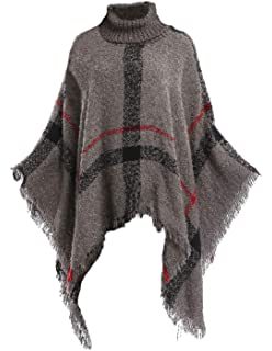 9354ed12134c6 Bellady Women's High Collar Batwing Tassels Poncho Cape Winter Knit Sweater  Cloak
