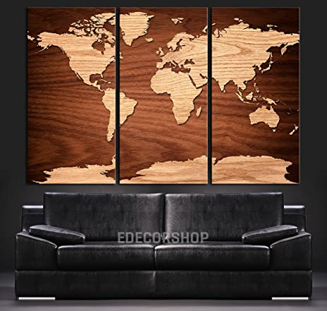 Amazon large wall art canvas world map wooden orange world large wall art canvas world map wooden orange world map on wooden brown background 3 gumiabroncs Images