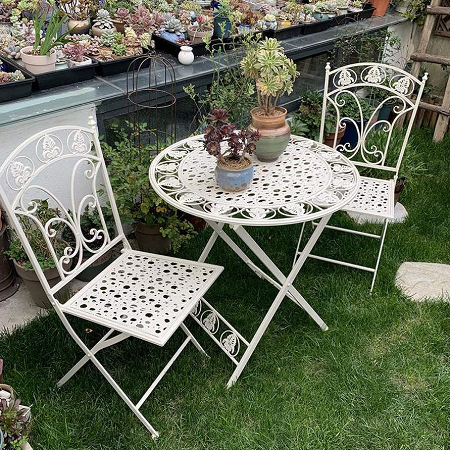 household items 3 Pieces of Garden Patio Furniture Set, Outdoor Folding Tavern Wrought Iron Table and Chairs, 2 armchairs and 1 Metal Table for The Courtyard/Lawn/Backyard Swimming Pool
