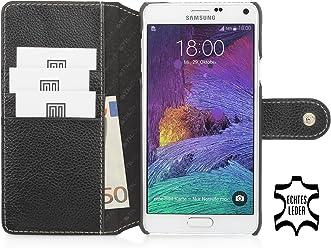 StilGut® Talis con bottote, custodia in pelle con scomparti interni per Samsung Galaxy Note 4, nero
