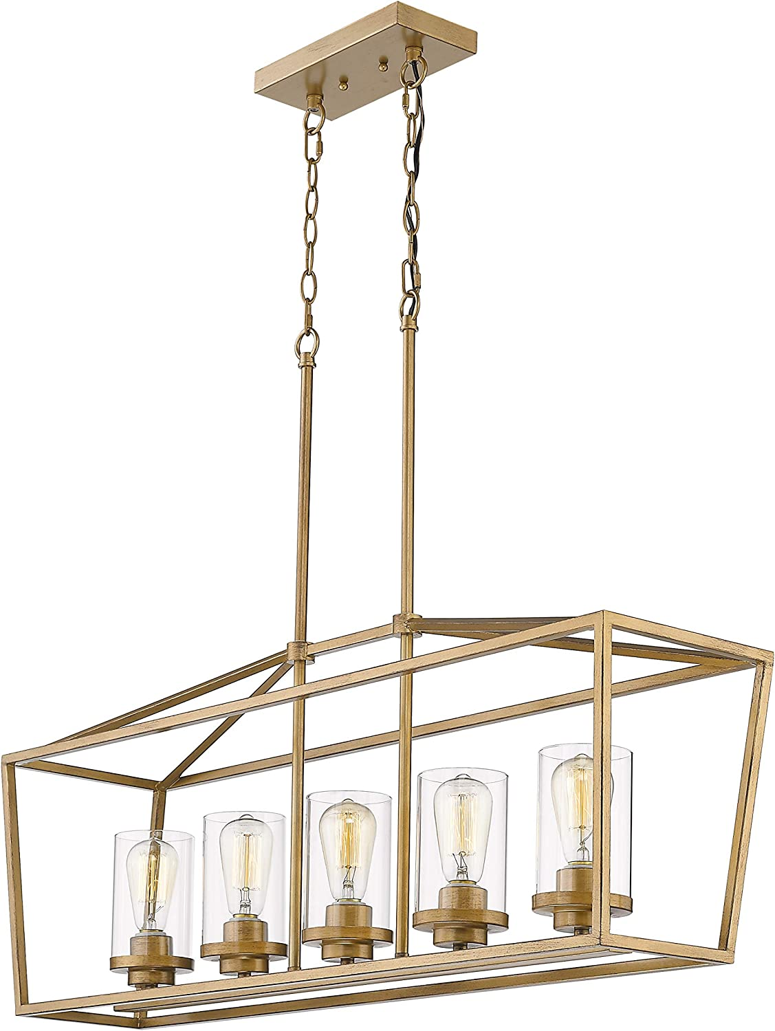 Emliviar 5-Light Pendant Lighting for Kitchen Island, Dining Room Lighting Fixture, Antique Gold Finish with Clear Glass Shade, P3033A-5LP-1
