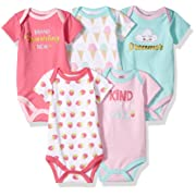 Luvable Friends Unisex Baby Cotton Bodysuits, Brand Sparkling Short Sleeve 5 Pack, 3-6 Months (6M)