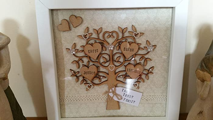 Personalised Family Tree Children Love Plaque Shabby Present Mother/'s Day Gift