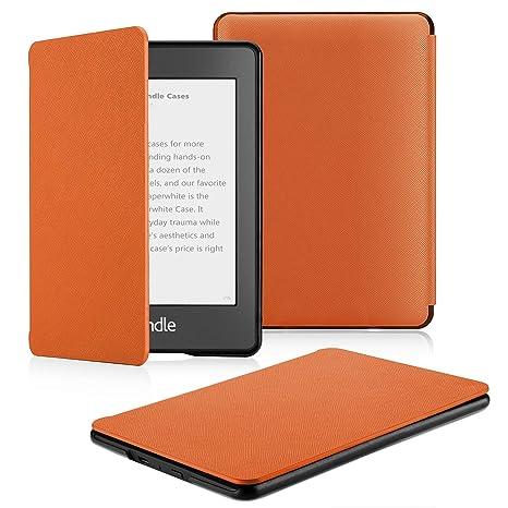 OMOTON Funda para Kindle Paperwhite (10ª Generación) Carcasa Kindle Paperwhite (2018 Lanzado), Sueño Automático, Cierre Magnético, Color Naranja, PU ...