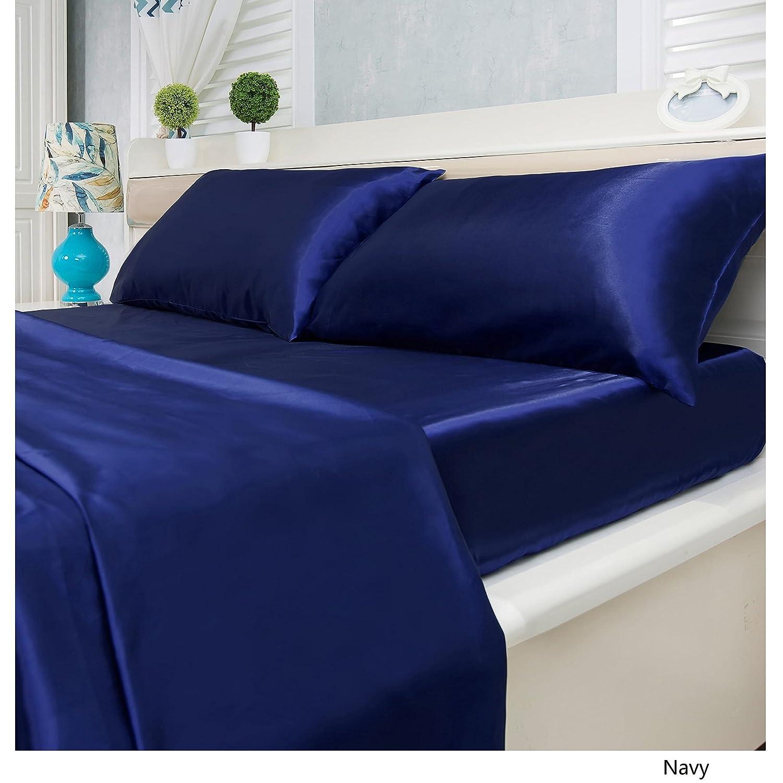 Royal Home  スーパーソフトディープポケット ブライダルサテンシーツ装飾4枚セット ツイン ブルー 14185188 B01KWGOVSS ツイン ネイビー ネイビー ツイン