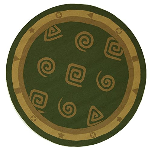 Safavieh Chelsea Collection HK211D Hand-Hooked Green Premium Wool Round Area Rug 8 Diameter