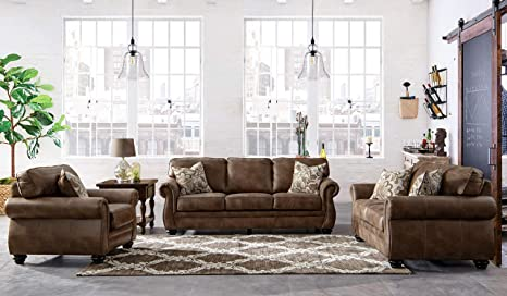 Acanva Contemporary Leathaire Leather Living Room Sofa Set, Oxford Brown