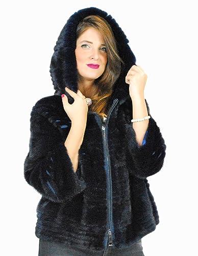 44 Jacket horizontal mink particular dark blue cap pelliccia visone pelz nerz норка fourrure vison