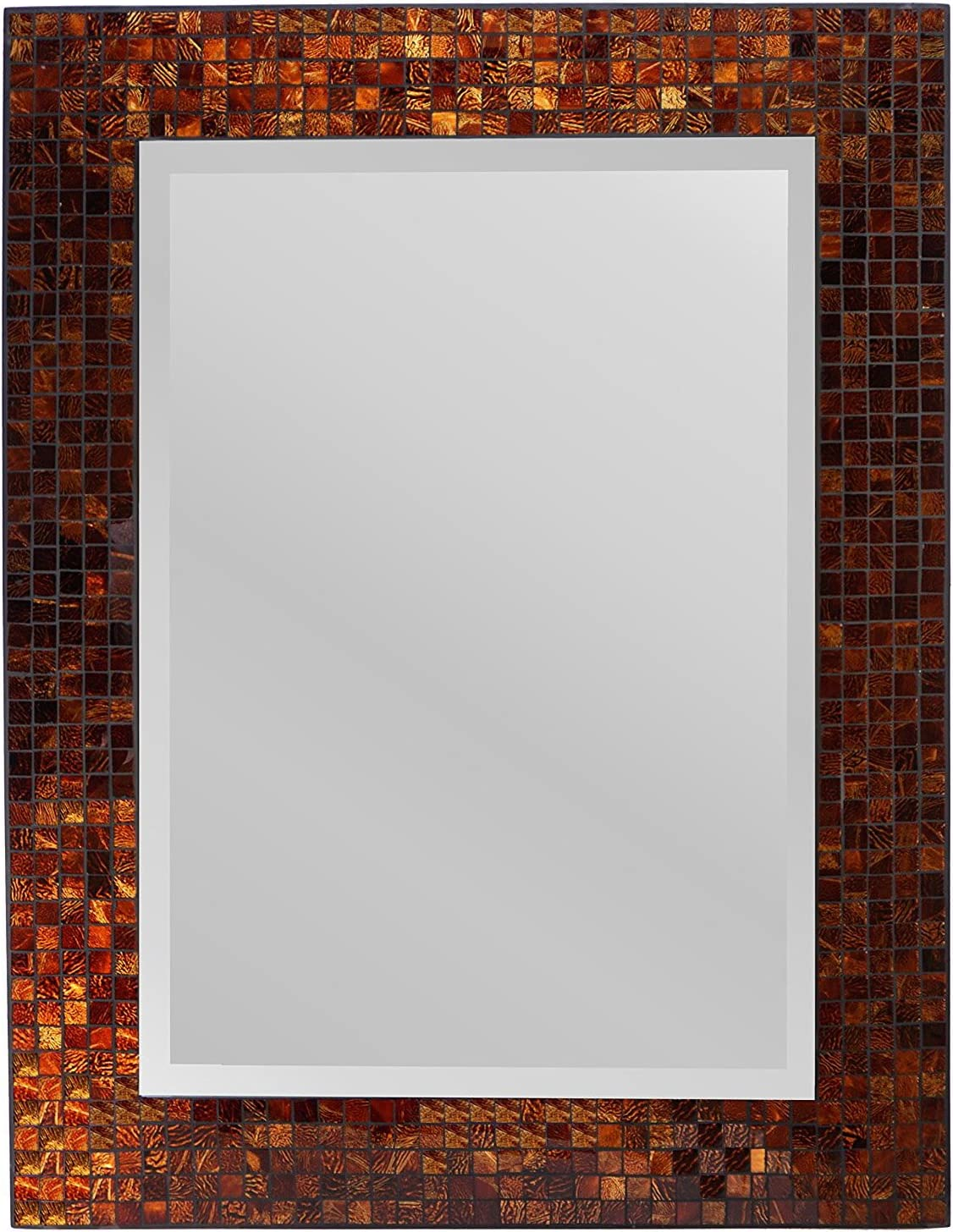 """Lulu Decor, Decorative Handmade Amber Rectangle Mosaic Beveled Wall Mirror, Frame Measures 31"""" x 23.5"""", Beveled Mirror Measures 24"""" x 15.5"""" Perfect for Housewarming Gift. (LP307)"""