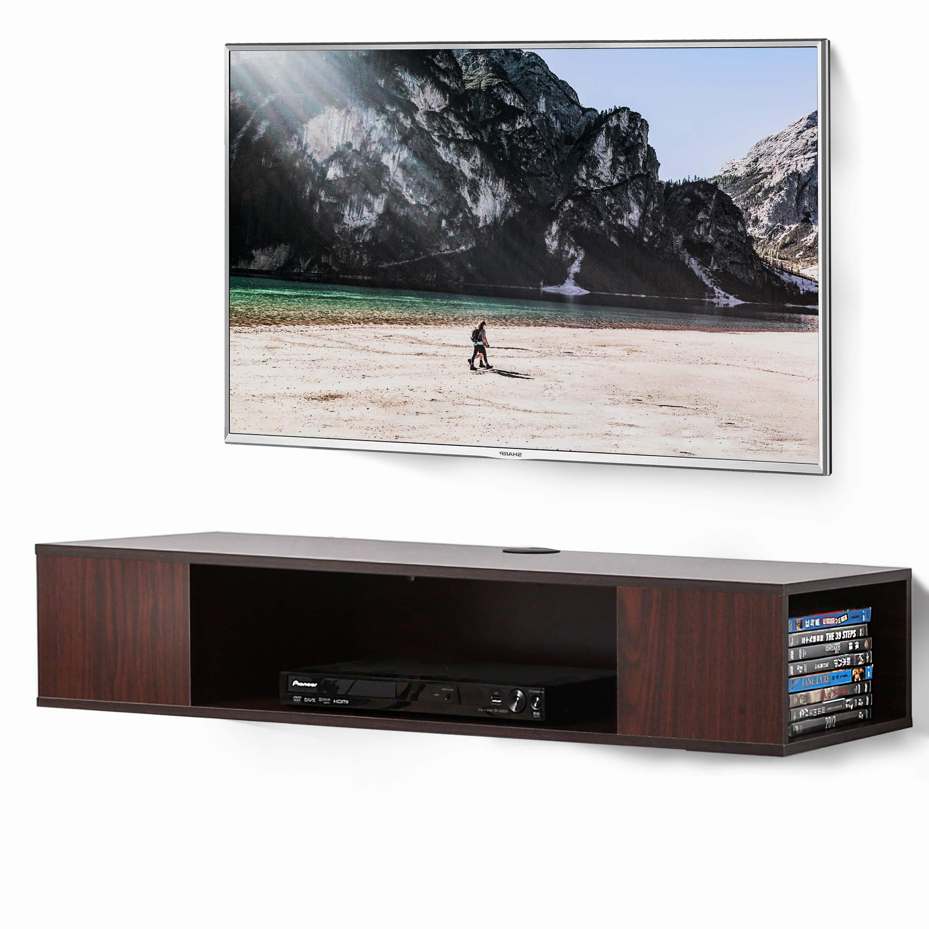 FITUEYES Walnut Floating TV Stand Component Shelf Wall Mounted Media Console DS210005WW by FITUEYES