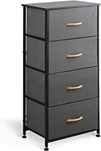 McNeil 4 Drawers Fabric Dresser Vertical Storage Tower Organizer Unit for Bedroom Office Laundry Closet Entryway Hallway Nursery Room, Black