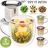 Teabloom Double Wall Glass Mug with Infuser & Lid +2 Gourmet Tea Flowers - 15 oz Tea Mug - Lid Doubles as Coaster – Adorable Gift Set for Tea Lovers - Available in 4 Colors