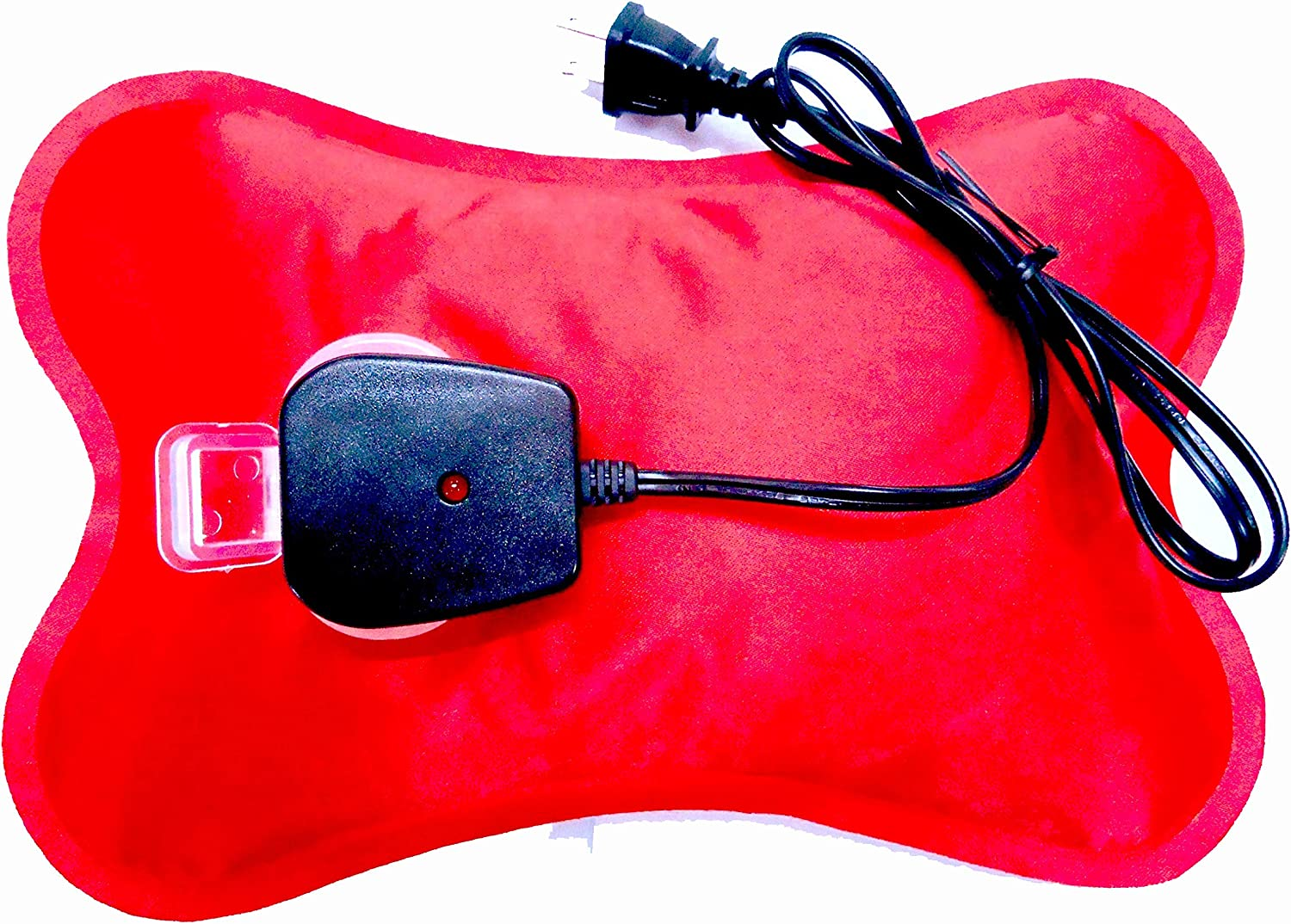 Happy Heat Hot Water Bottle Electric Rechargeable Heating Pads, Zippered Bag, Red