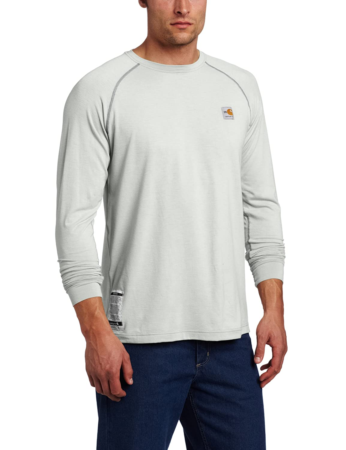 62142353c54f Amazon.com  Carhartt Men s Big   Tall Flame Resistant Force Long Sleeve T- Shirt  Work Utility Shirts  Clothing