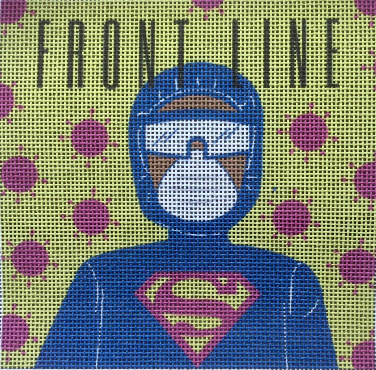Stitch it Then Frame it. Use Any Stitches Needlepoint Printed Canvas of a Medical Frontline Worker in PPE Small Needlework Project 5 x 5 on 18 Holes per inch Canvas