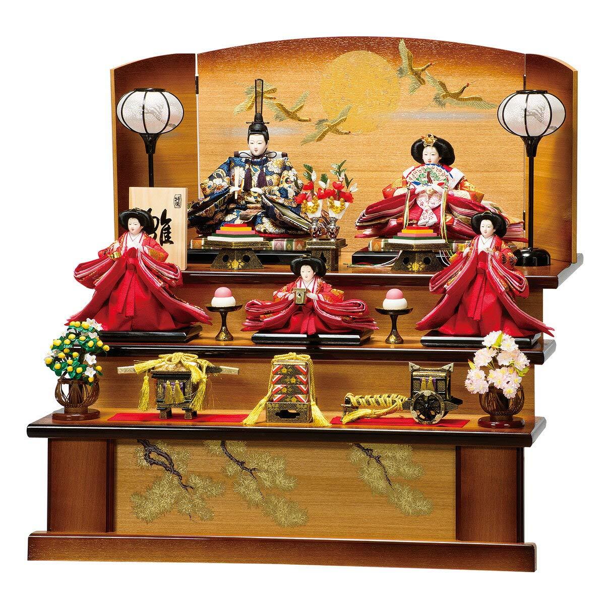 雛人形 紗良 大三五親王 芥子官女揃 ひな人形 三段飾り 平安豊久 HNH-303852 HD-031   B07KCYG2WK