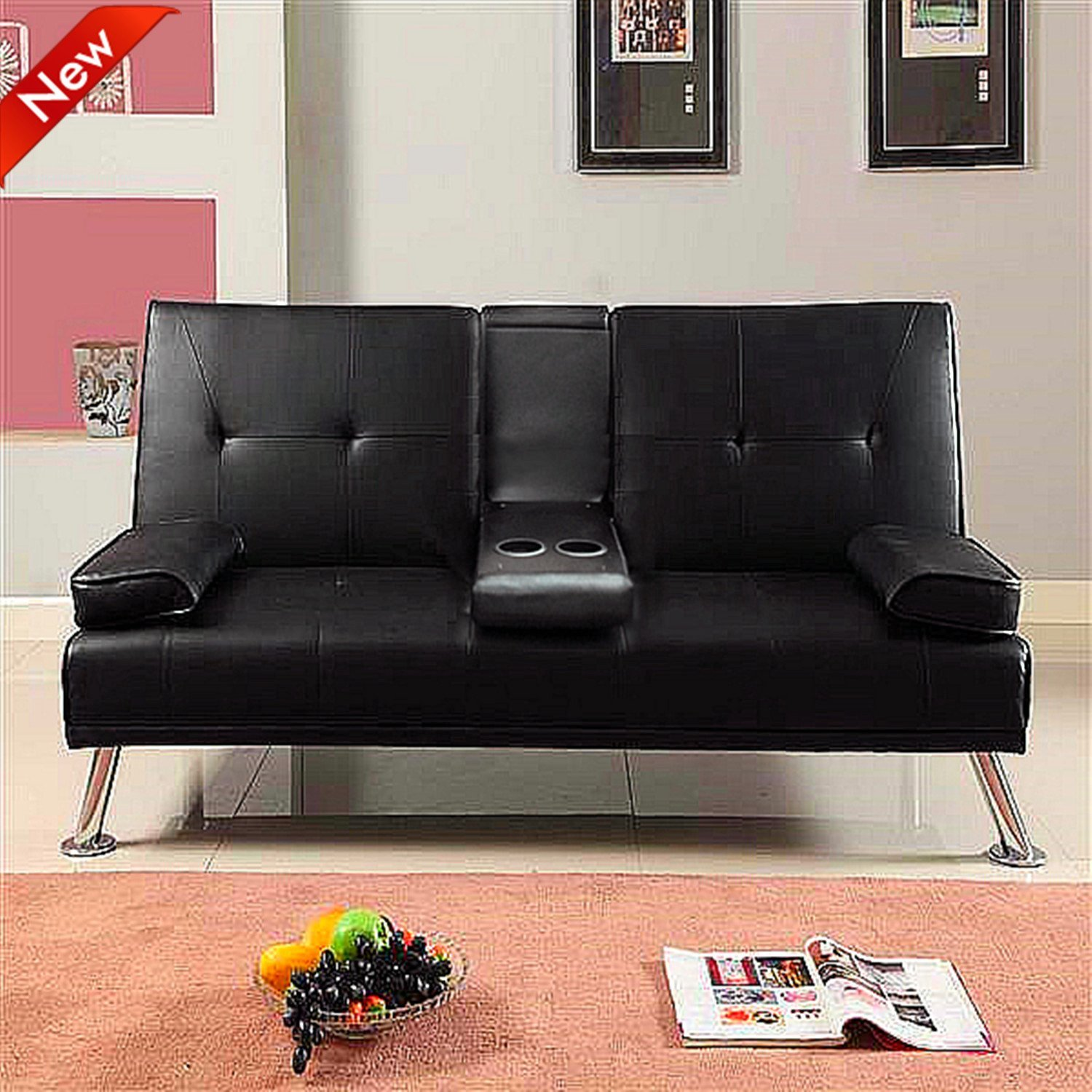 Popamazing Faux Leather Folding Sofa Bed With Cup Holders Black