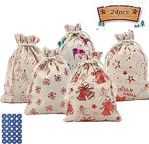 MEZOOM 24pcs Christmas Jute Bags Burlap Gift Bags Xmas Sacks with Drawstring Present Pouches for Christmas Xmas Wedding Birthday Gift Wrapping