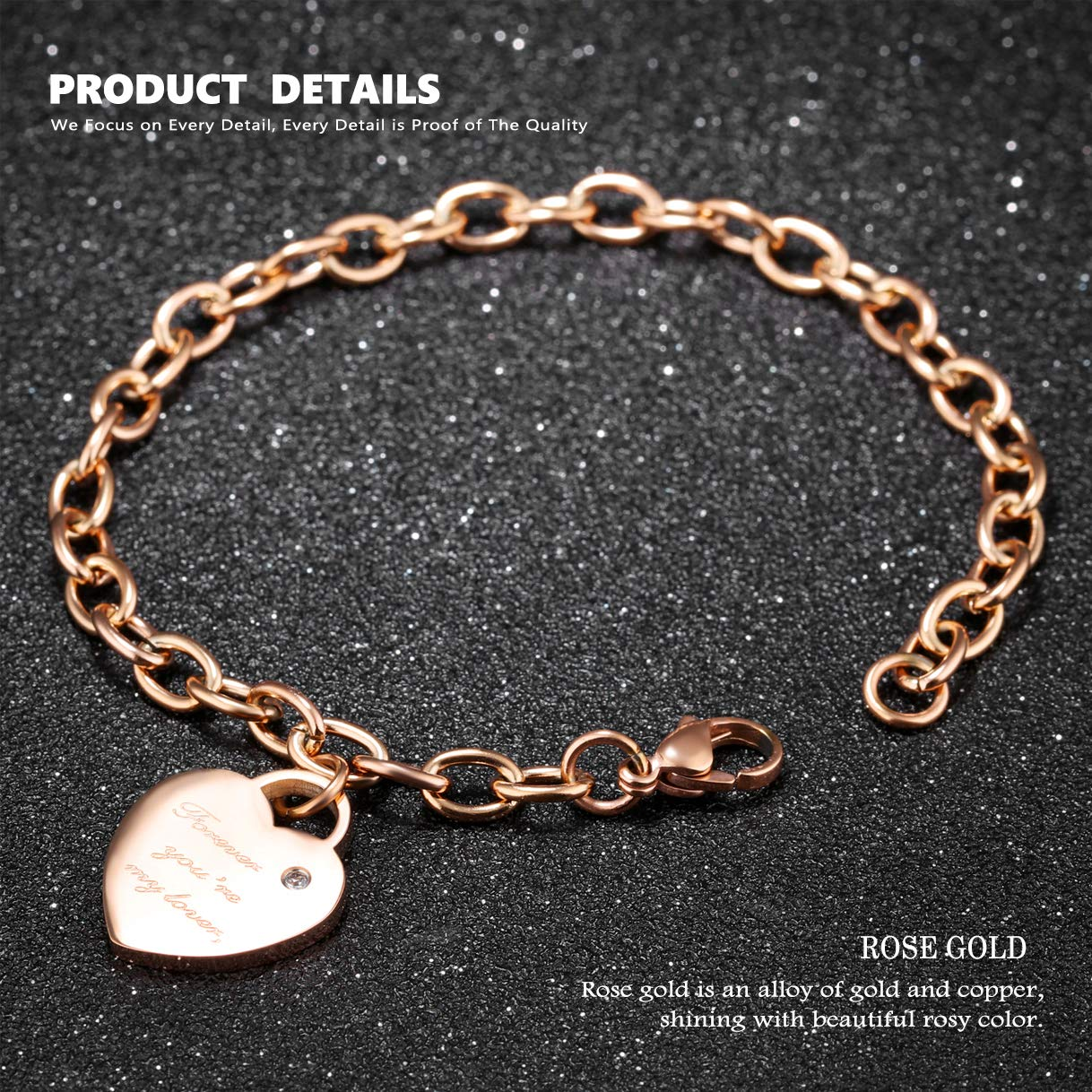 CHARMFAME Rose Gold Plated Stainless Steel Engraved Bangle CZ Cross Bracelet Fashion Jewelry for Women /& Girls