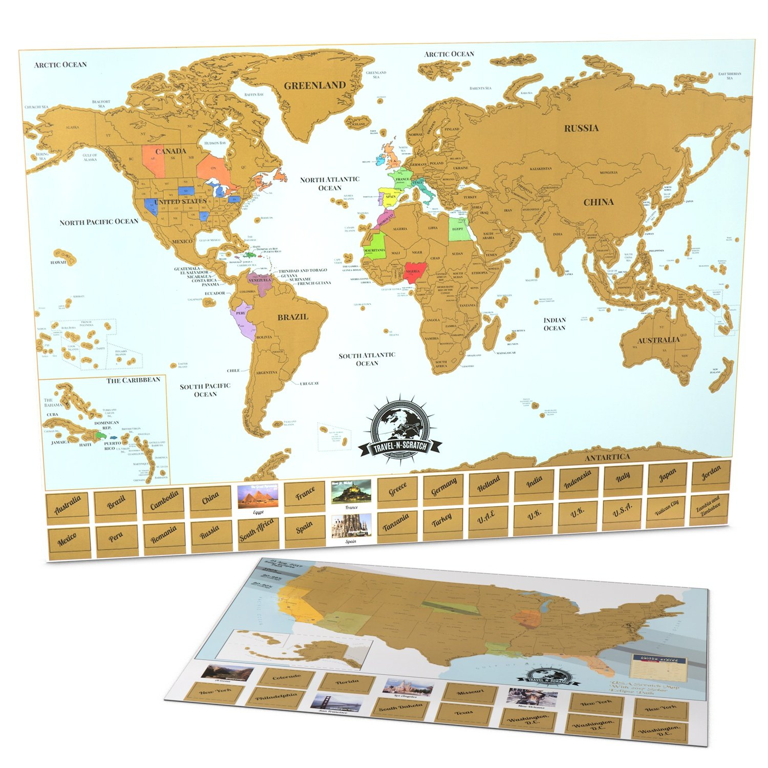 Scratch Off Map Of The World + United States Scratch Off Map ...