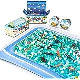 MONILON Water Beads, 24 Pcs Ocean Sea Animals Tactile Sensory Play Kids Toys for Boys Girls, Water Gel Soft Beads Growing Jel