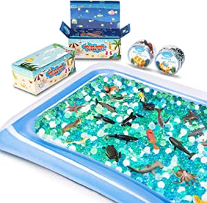 MONILON Water Beads, 24 Pcs Ocean Sea Animals Tactile Sensory Play Kids Toys for Boys Girls, Water Gel Soft Beads Growing Jelly Balls for Spa Refill, Pool & Decor-Inflatable Water Mat Include