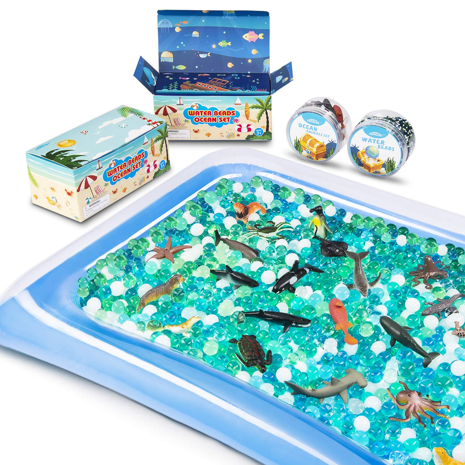 MONILON Water Beads, 24 Pcs Ocean Sea Animals Tactile Sensory Play Kids Toys for Boys Girls, Water Gel Soft Beads Growing Jelly Balls for Spa Refill, Pool and Decor-Inflatable Water Mat Include
