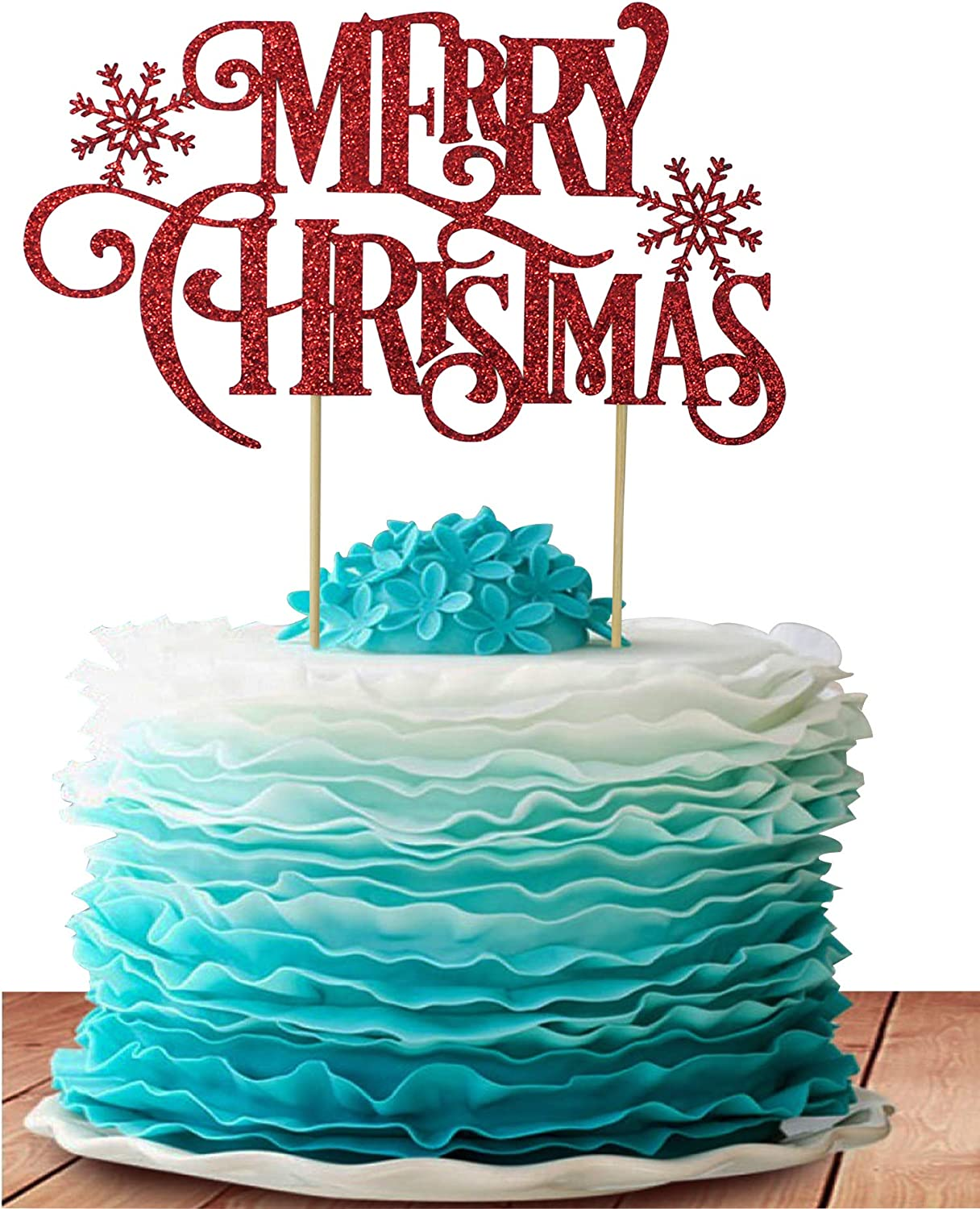Merry Christmas And Happy New Year Green And Cream 2020 Amazon.com: GrantParty Merry Christmas Cake Topper   Holiday Santa