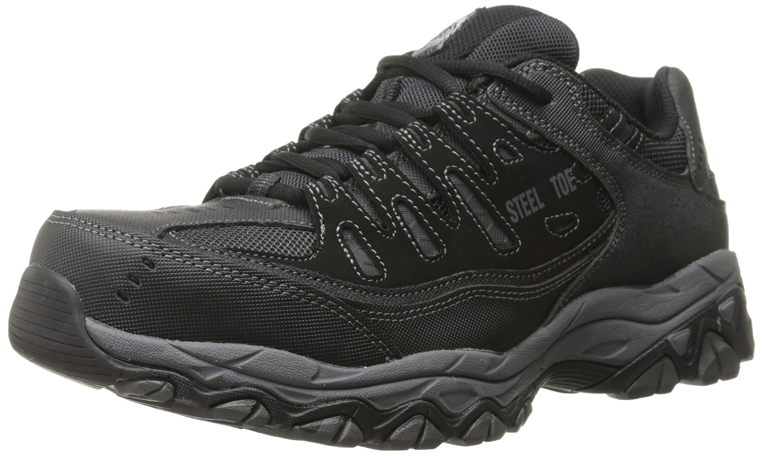 Skechers For Casual Steel Toe Work Sneaker, Black/Charcoal, 10.5 M US by Skechers