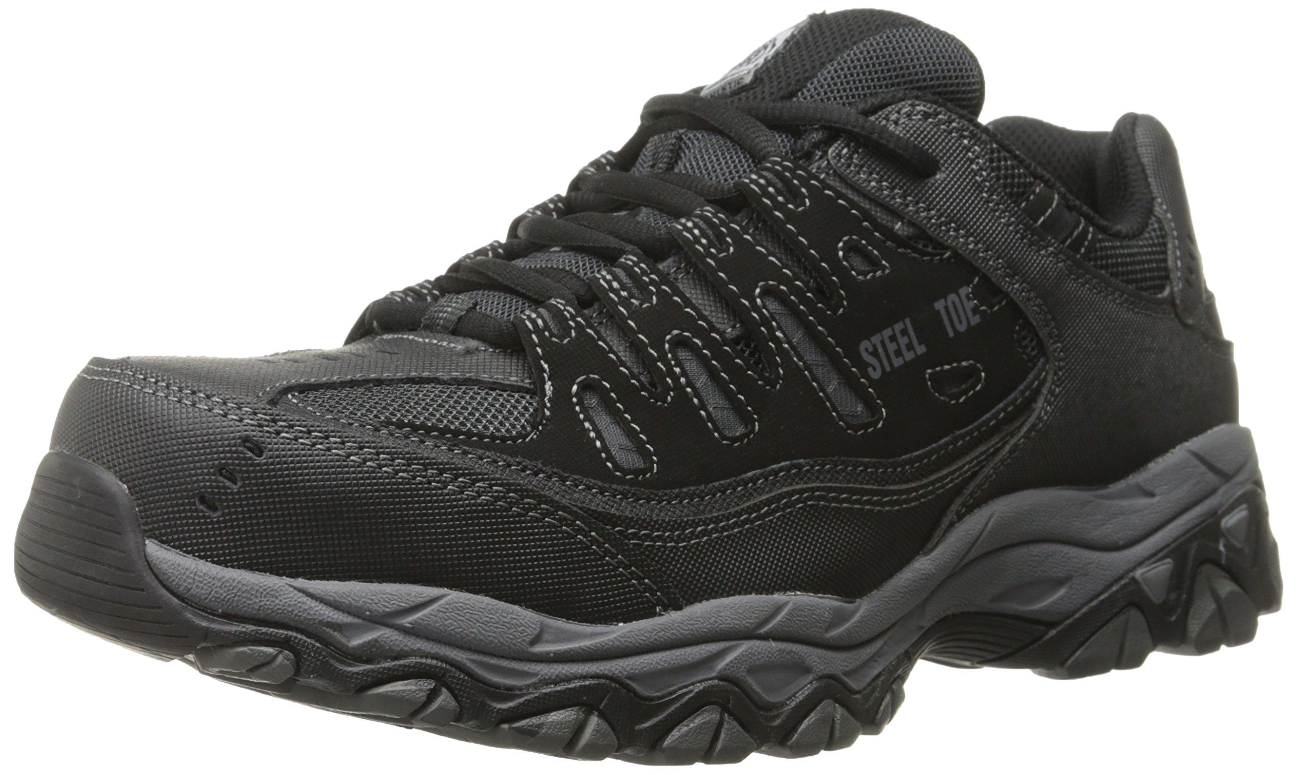 Skechers for Casual Steel Toe Work Sneaker, Black/Charcoal, 12 M US by Skechers