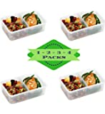 Bento Box Meal Prep Containers (4 Pack) - PREMIUM Quality Bento Lunch Boxes | Food Storage | Portion Control | LEAK PROOF | BPA FREE | Microwavable | Configurable Removable 3 Compartments | Reusable