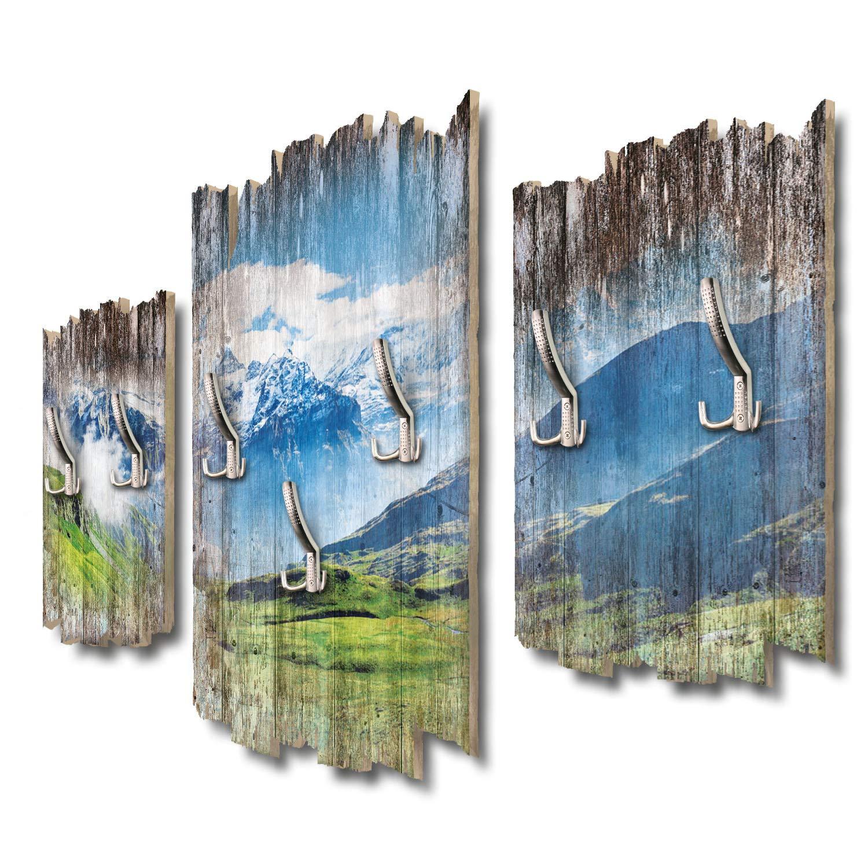 Kreative Feder Schweizer Alpenpanorama Designer Wandgarderobe Flurgarderobe Wandpaneele 95 x 60 cm aus MDF DTGH091