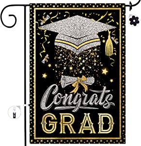 Bonsai Tree Graduation Garden Flag, Congrats Grad Congratulations Yard Flags 12x18 Double Sided, Burlap Celebrate Class of 2021 Diploma Cap Vertical Signs Banners Gifts Outdoor Decorations