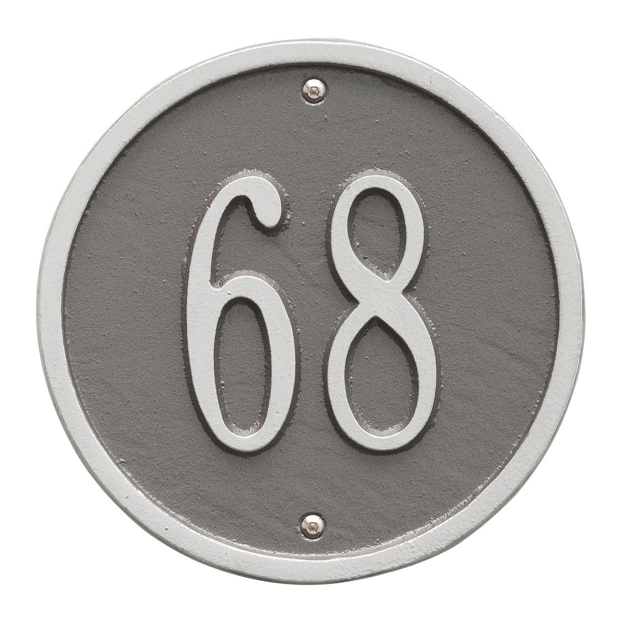 Custom 1 Line - 6'' Diameter ROUND Aluminum Address Plaque