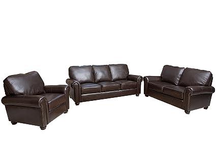 Amazon Com Abbyson Wilshire Italian Leather Sofa Loveseat Armchair