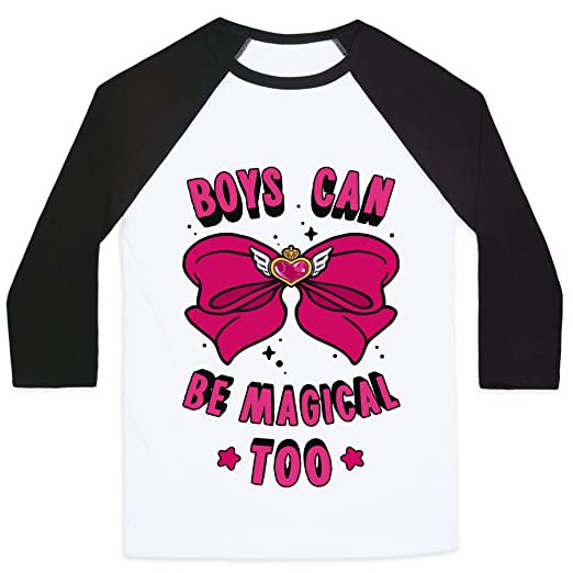47f65c5ba LookHUMAN Boys Can Be Magical Too White/Black Small Mens/Unisex Baseball Tee  by