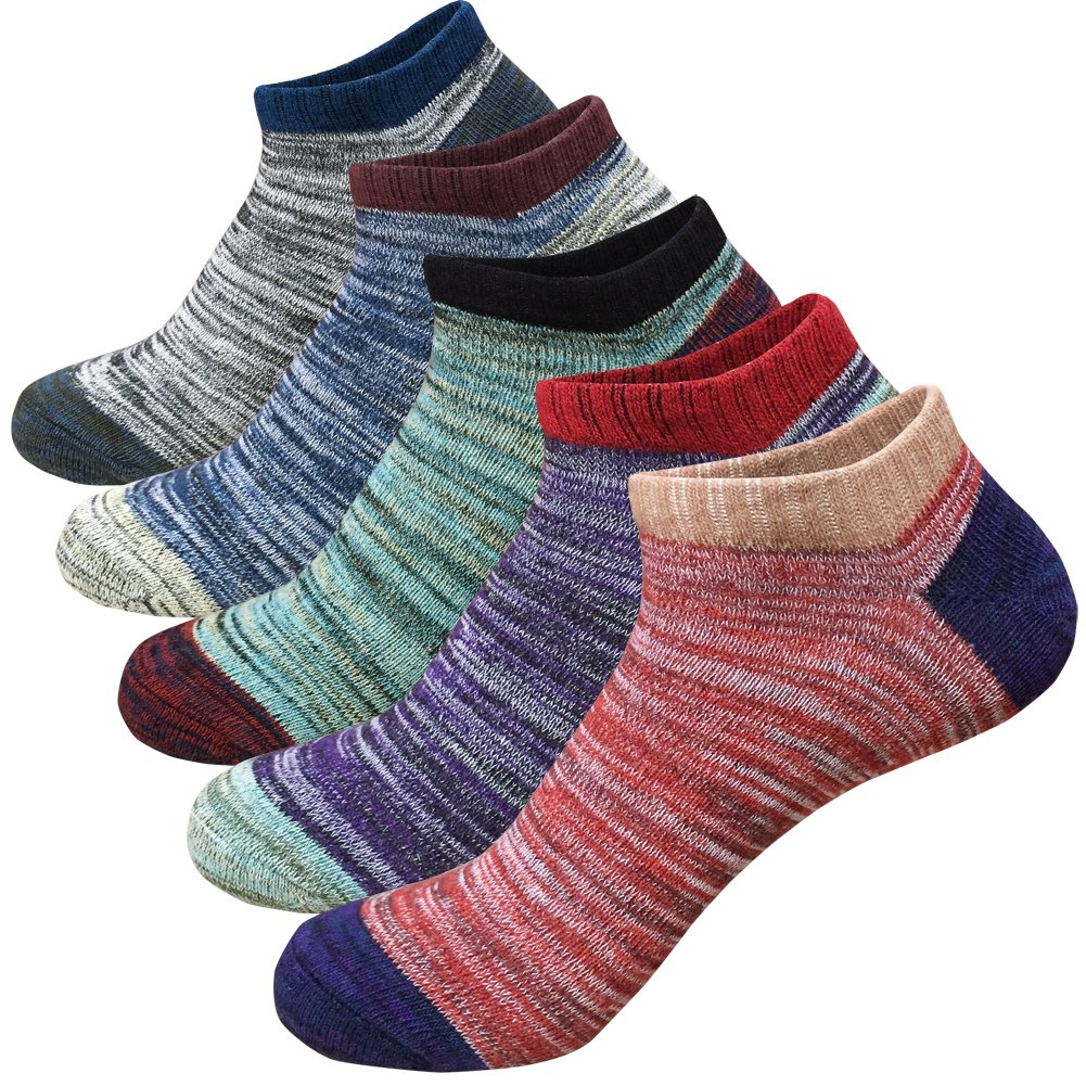 Women's No Show Socks Coloured Vintage Style Cotton Low Cut Ankle Casual Socks 5-Pack Sizes 6-11