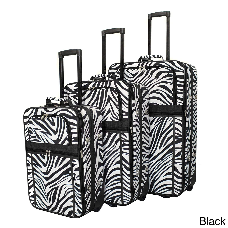 Red Zebra 3 Piece Luggage Set Color