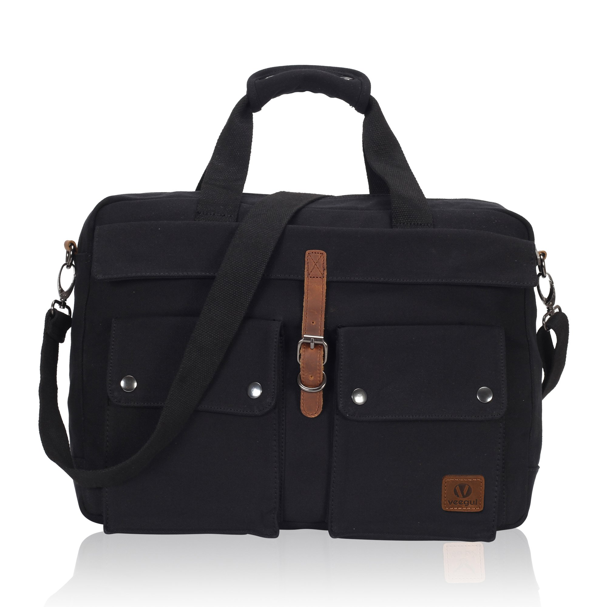 Veegul Multifunctional Canvas Laptop Bag 15.6 inch Black