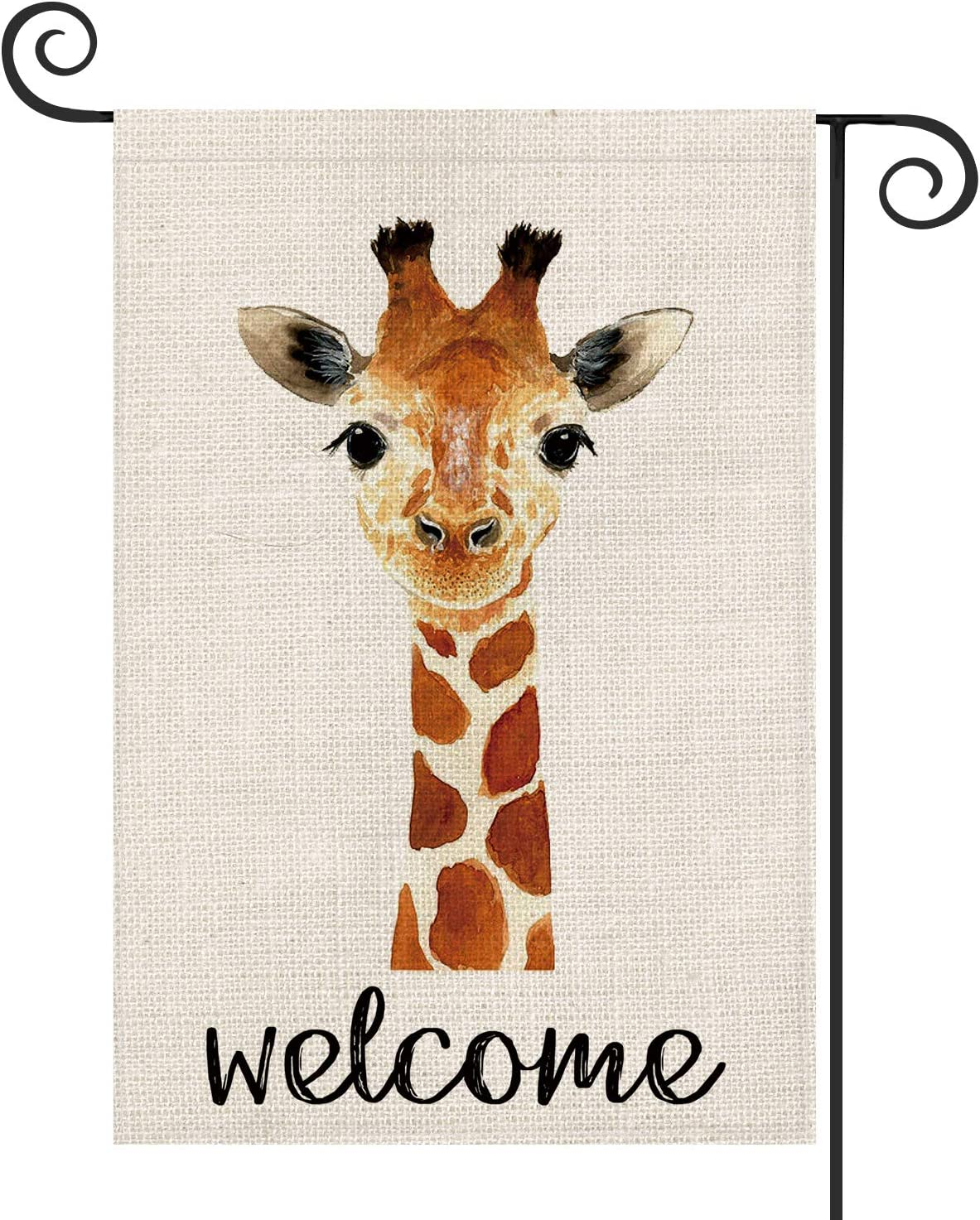 AVOIN Giraffe Garden Flag Vertical Double Sided, Pet Welcome Quote Birthday Yard Outdoor Decoration 12.5 x 18 Inch