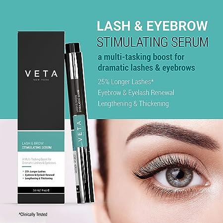 Veta Lash and Eyebrow Serum 2-in-1 Lash Brow Pen Produces Longer, Healthier, Denser Lashes and Thicker Brows Eyelash Serum Boosts Skin Collagen Drug-Free Formula – 1 fl oz.